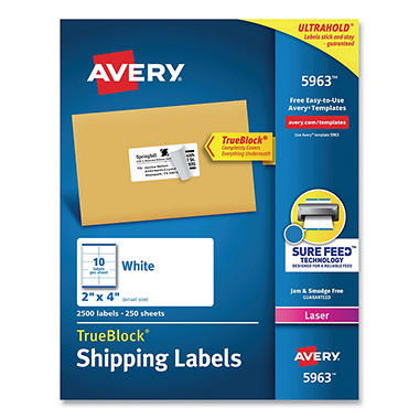 "Avery 5963 - Laser Shipping Labels, 2 x 4"", White - 2,500 Labels"