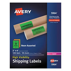 "Avery High-Visibility Shipping Label, Laser, 2"" x 4"", Assorted Neon Colors, 1000 ct."