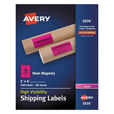 "Avery High-Visibility Shipping Label, Laser, 2"" x 4"", Neon Magenta, 1000 ct."