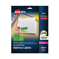 Avery Neon High Visibility Full Sheet Laser Labels
