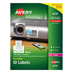Avery Permanent ID Laser Labels, 1-1/4 x 1-3/4, White, 1600 per Pack