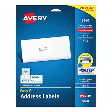 Avery 8160 Inkjet Address Labels - 1 x 2-5/8