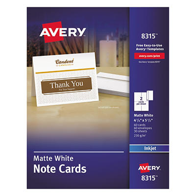 Avery - 8315 or 8317 - Note Cards, Inkjet, White or Ivory - 60 Cards