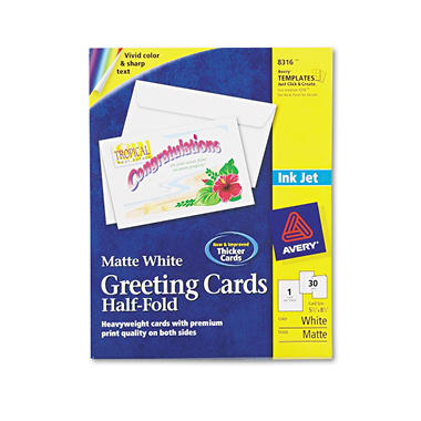 Avery - 8316 - Greeting Cards, Inkjet, White - 30 Cards