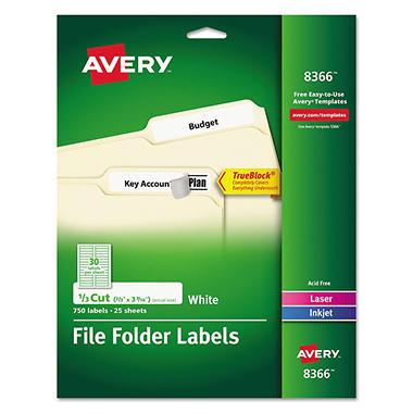avery 1 3 tab file folder labels white 750 labels sam With file folder tab labels