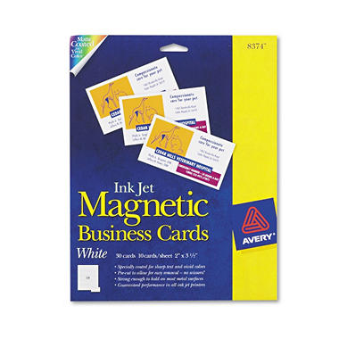 Avery 8374 - Magnetic Business Cards, Inkjet, White - 30 Cards
