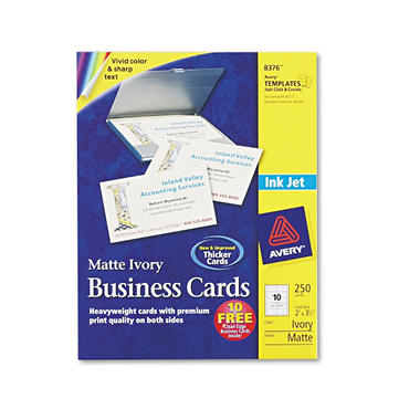 Avery 8376 - Perforated Business Cards, Inkjet, Ivory - 250 Cards