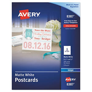 Avery - 8387 or 8383 - Postcards, Inkjet, Matte or Glossy