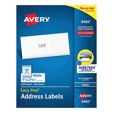 Avery 8460 - Inkjet Address Labels, 1 x 2-5/8