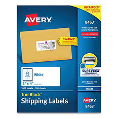 "Avery 8463 - Inkjet Shipping Labels, 2 x 4"", White - 1,000 Labels"