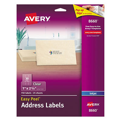 "Avery 8660 - Inkjet Address Labels, 1 x 2-5/8"", Clear - 750 Labels"