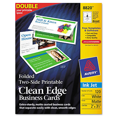 Avery 8820 - Clean Edge Business Cards, Foldable, Inkjet - 120 Cards