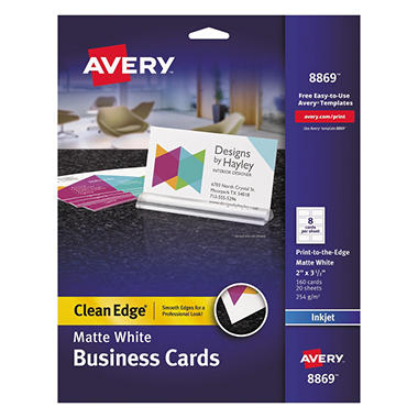 Avery 8869 - Clean Edge Business Cards, Inkjet, Print to Edge - 160 Cards