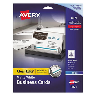 Avery 8871 - Clean Edge Business Cards, Inkjet, White - 200 Cards