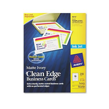Avery 8876 - Clean Edge Business Cards, Inkjet, Ivory - 200 Cards