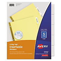 Avery WorkSaver Insertable Tab Index Dividers, Select Tab (Letter, 5 Tab)