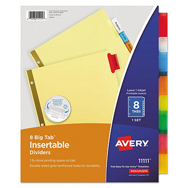 Avery 11111 - Big Tab Insertable Buff Dividers, 8 Mulitcolor Tabs - 1 Set