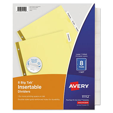 Avery 11112 - Big Tab Insertable Buff Dividers, 8 Clear Tabs - 1 Set