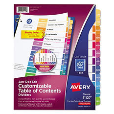 Avery 11127 - Ready Index Table of Contents Dividers - Jan to Dec