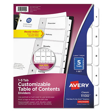 Avery - Ready Index Table of Contents Dividers, Black on White - Various Tabs