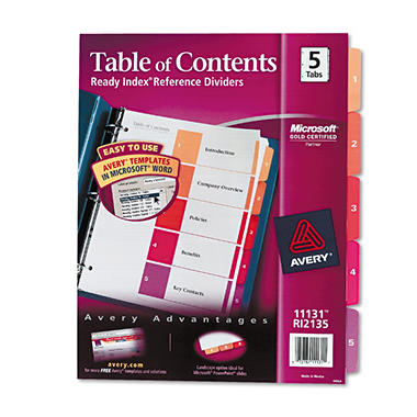 Avery - Ready Index Table Of Contents Dividers, Multicolor - 1 Set