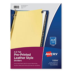 Avery A-Z Gold Line Black Leather Tab Dividers