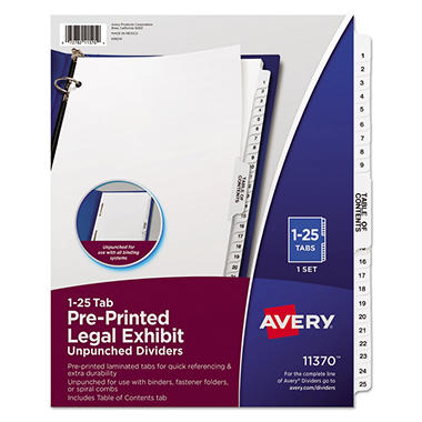 Avery - Legal Exhibit Dividers, Various Tabs - 1 Set