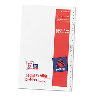 "Avery - Legal Exhibit Dividers, 8-1/2 x 14"", Various Tabs - 1 Set"