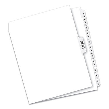 Avery Legal Side Tab Divider, Title: A-Z, Letter, White, 1 Set