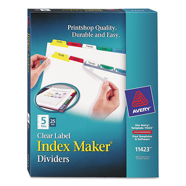 Avery - Index Maker Divider w/Multicolor Tabs, 5-Tab, Letter - 25 Sets/Box