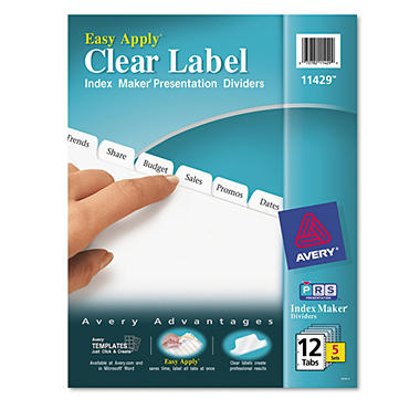 Avery - Index Maker Clear Label Dividers, White - 5 Sets