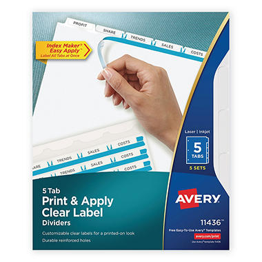 Avery - Index Maker Clear Label Dividers, White, 5-Tab - 5 Sets