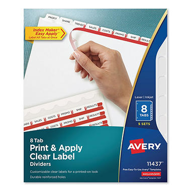 Avery - Index Maker Clear Label Dividers, White, 8-Tab - 5 Sets