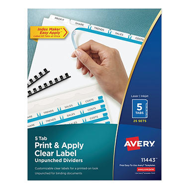 Avery - Index Maker Clear Label Dividers, Unpunched, Various Tabs - 25 Sets