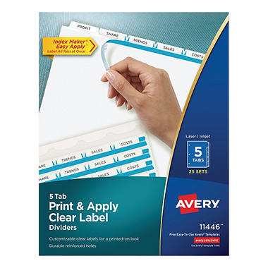 Avery - Index Maker Clear Label Dividers, 5 Tabs - 25 Sets
