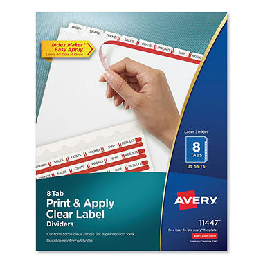 Avery - Index Maker Clear Label Dividers, 8 Tabs - 25 Sets