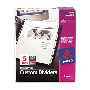 Avery - Direct Print Presentation Dividers, 5 or 8 Tab - 24 Sets
