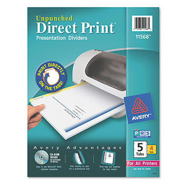 Avery� Direct Unpunched 5-Tab Dividers - White