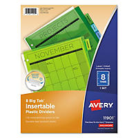 Avery WorkSaver Big Tab Plastic Dividers, 8 Tab, Letter, Multicolor