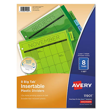 Avery - WorkSaver Big Tab Plastic Dividers, 8 Tab, Letter - Multicolor