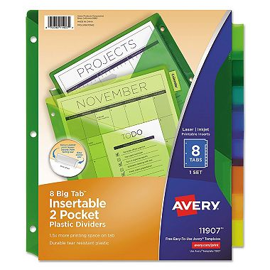 Avery Insertable Big Tab Plastic Dividers w/Double Pockets, 8-Tab, 11 x 9