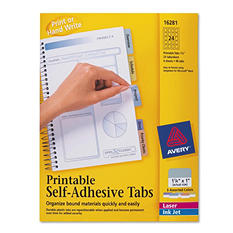 Avery Printable Self-Adhesive Tabs, Select Quantity/Color