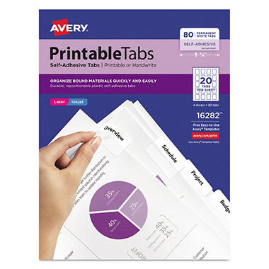 Avery Printable Self-Adhesive Tabs