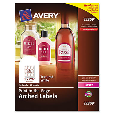 "Avery Unique Shapes and Textured Labels - Arch - 3"" x 2 1/2"" - White - 90 ct."