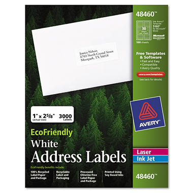 Eco-friendly Labels - 1 x 2 5/8 - White - 3000/pk.