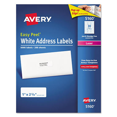 Avery® Easy Peel Address Labels, Laser, 1 x 2-5/8, White, 6,000ct.