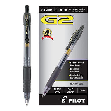 Pilot G2 Retractable Premium Gel Ink Pens, Select Color (Bold, 12 ct.)