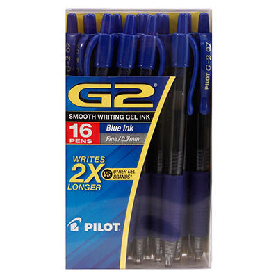 Pilot - G2 Gel Roller Ball Pens, Retractable, Blue Ink, Fine - 14 Pens