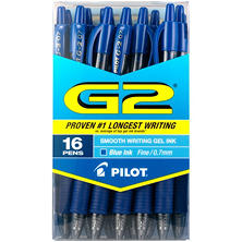 Pilot G2 Retractable Roller Ball Gel Pens, Select Color (Fine,16 ct.)