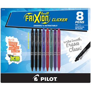 Frixion Erasable Gel Ink Pen,  8 Pack,  Assorted Colors